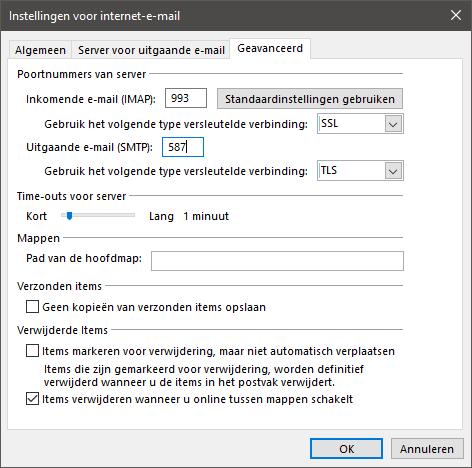 Geanvaceerde server instellingen Proximus