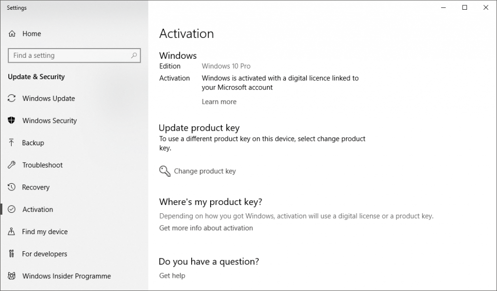 Find Your Windows 10 digital License/Product Key | Thomas