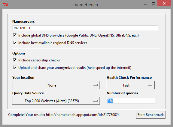 namebench main program window
