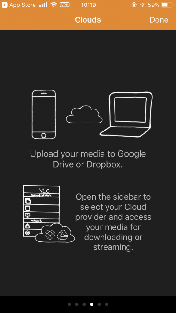 Start screen on Apple iPhone (iOS) with instructions for using the Cloud Services option