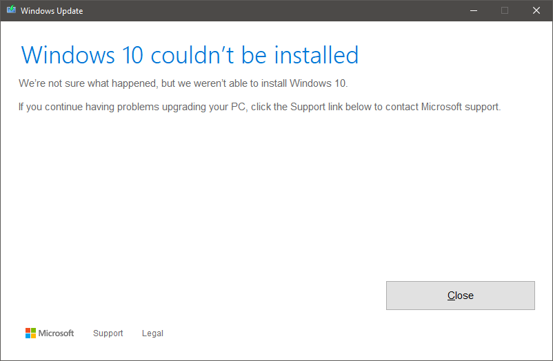 Windows 10 update/upgrade Error Code 0x8031004a | Thomas' Miniblog