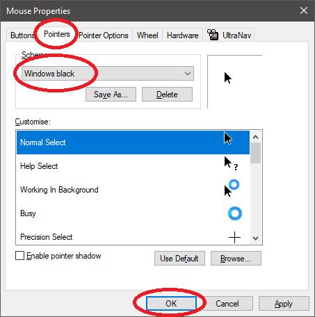 How to set a black cursor in Windows 10 (like MacOS) | Thomas' Miniblog